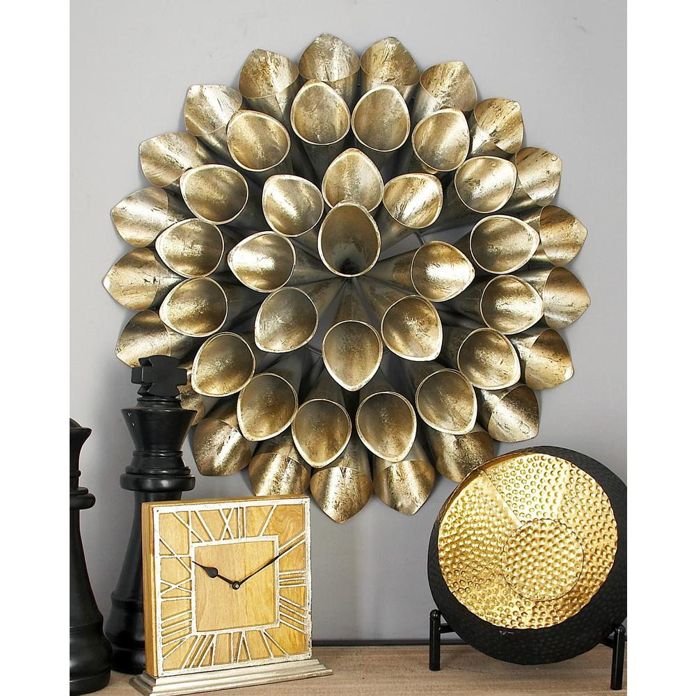 Cosmolivingcosmopolitan Iron Silver Finished Slanted Floral Cone With 2020 Metal Wall Decor By Cosmoliving (View 3 of 20)