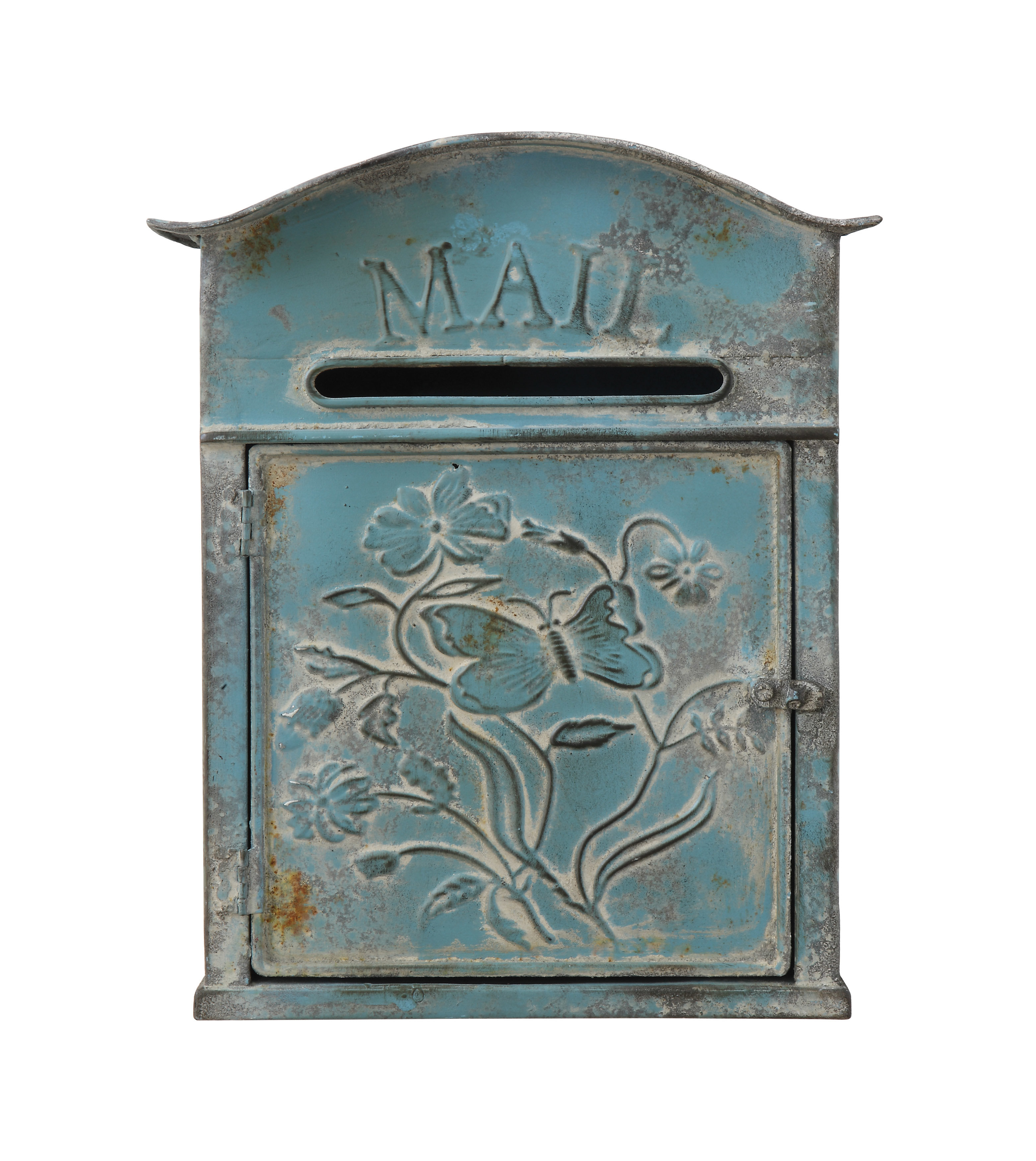 Creative Co Op Distressed Embossed Tin Wall Mounted Mailbox Pertaining To Recent Lacordaire Wall Mounted Mailbox (View 4 of 20)