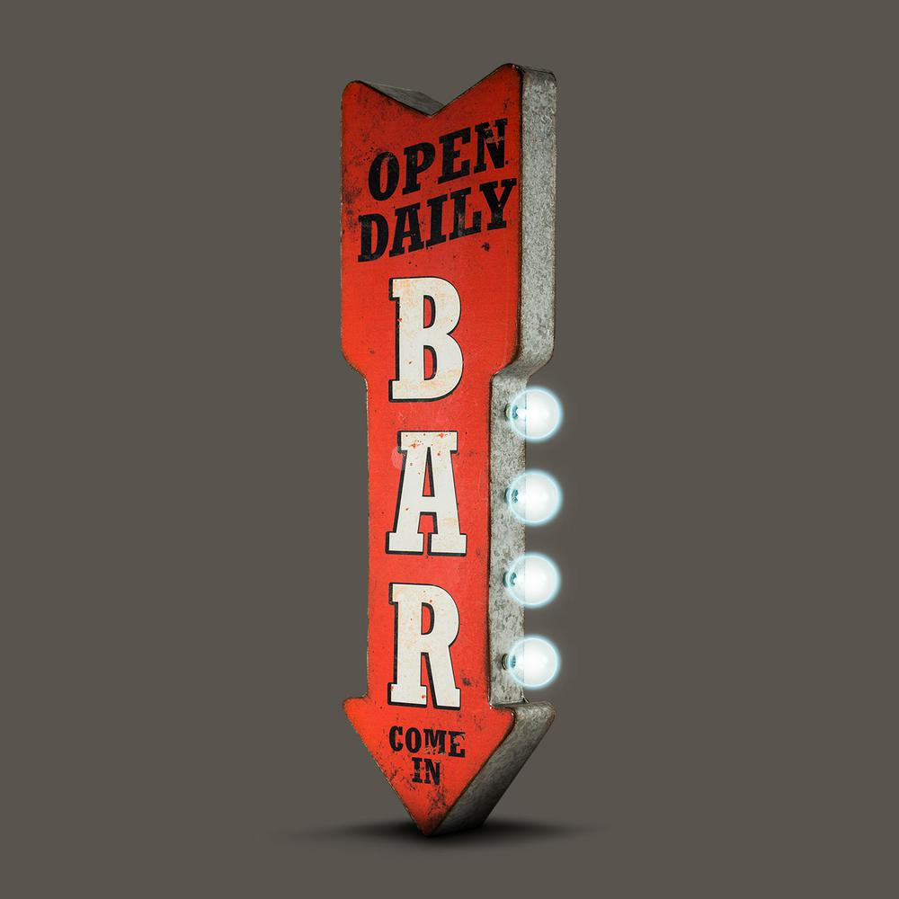Crystal Art Gallery Open Daily Bar Metal Arrow Vintage Marquee Led Intended For Widely Used Casual Country Eat Here Retro Wall Decor (View 11 of 20)