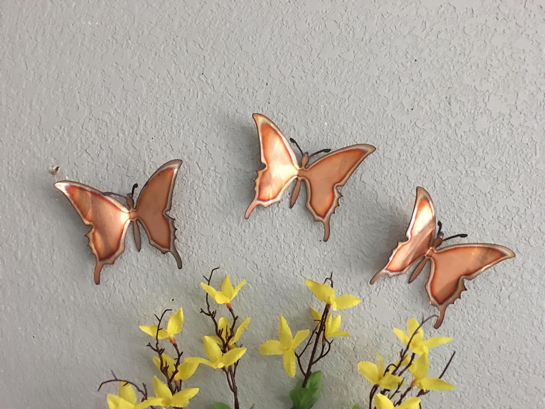 Current 3 Piece Capri Butterfly Wall Decor Sets With Copper Butterflies Set Of 3 Butterflies Wall Art Metal (View 5 of 20)