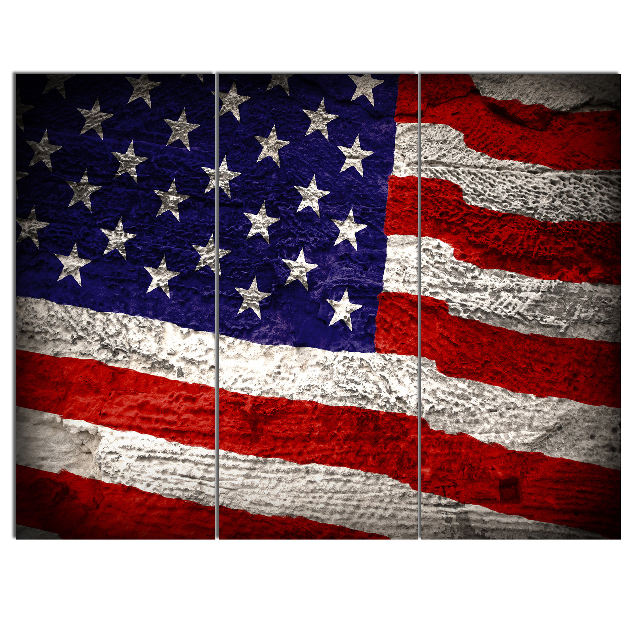 Current American Flag 3D Wall Decor Regarding Designart 'large American Flag' 3 Piece Wall Art On Wrapped Canvas (View 11 of 20)