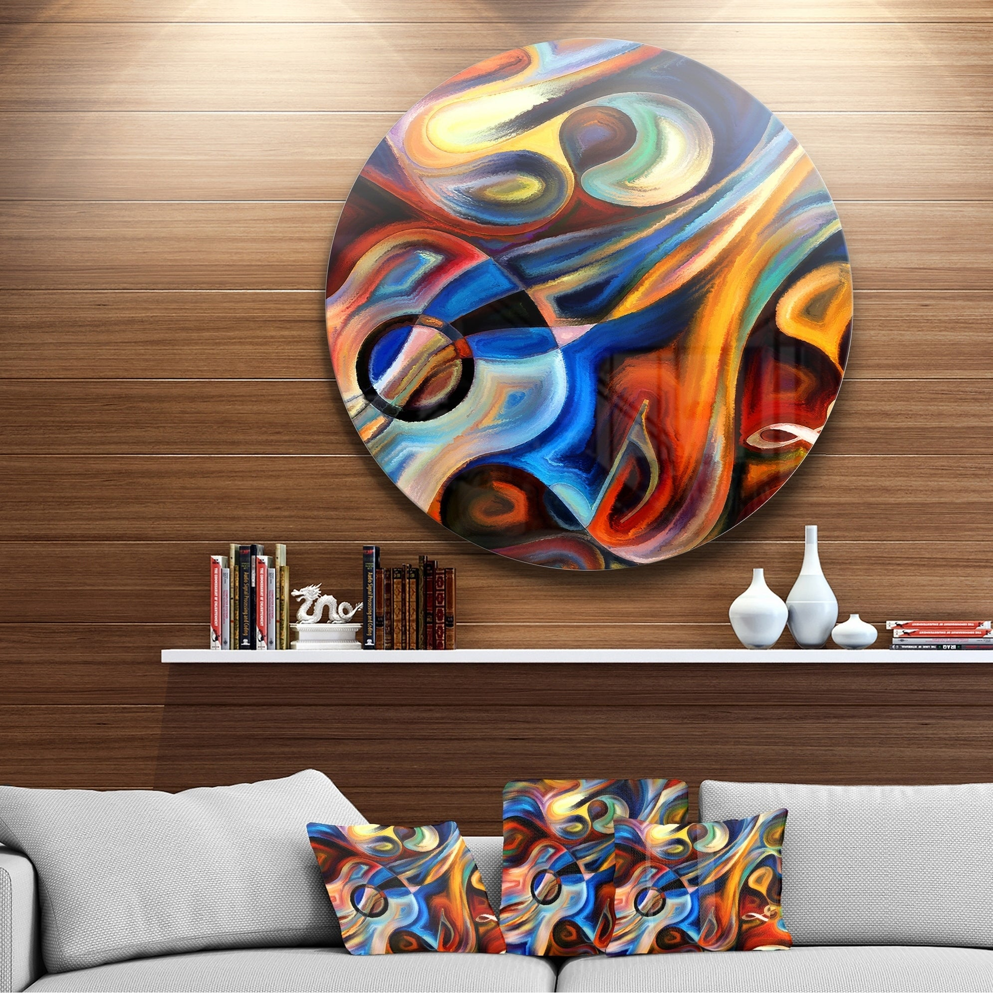 Current Contemporary Abstract Round Wall Decor Inside Shop Designart 'abstract Music And Rhythm' Abstract Glossy Circle (View 6 of 20)