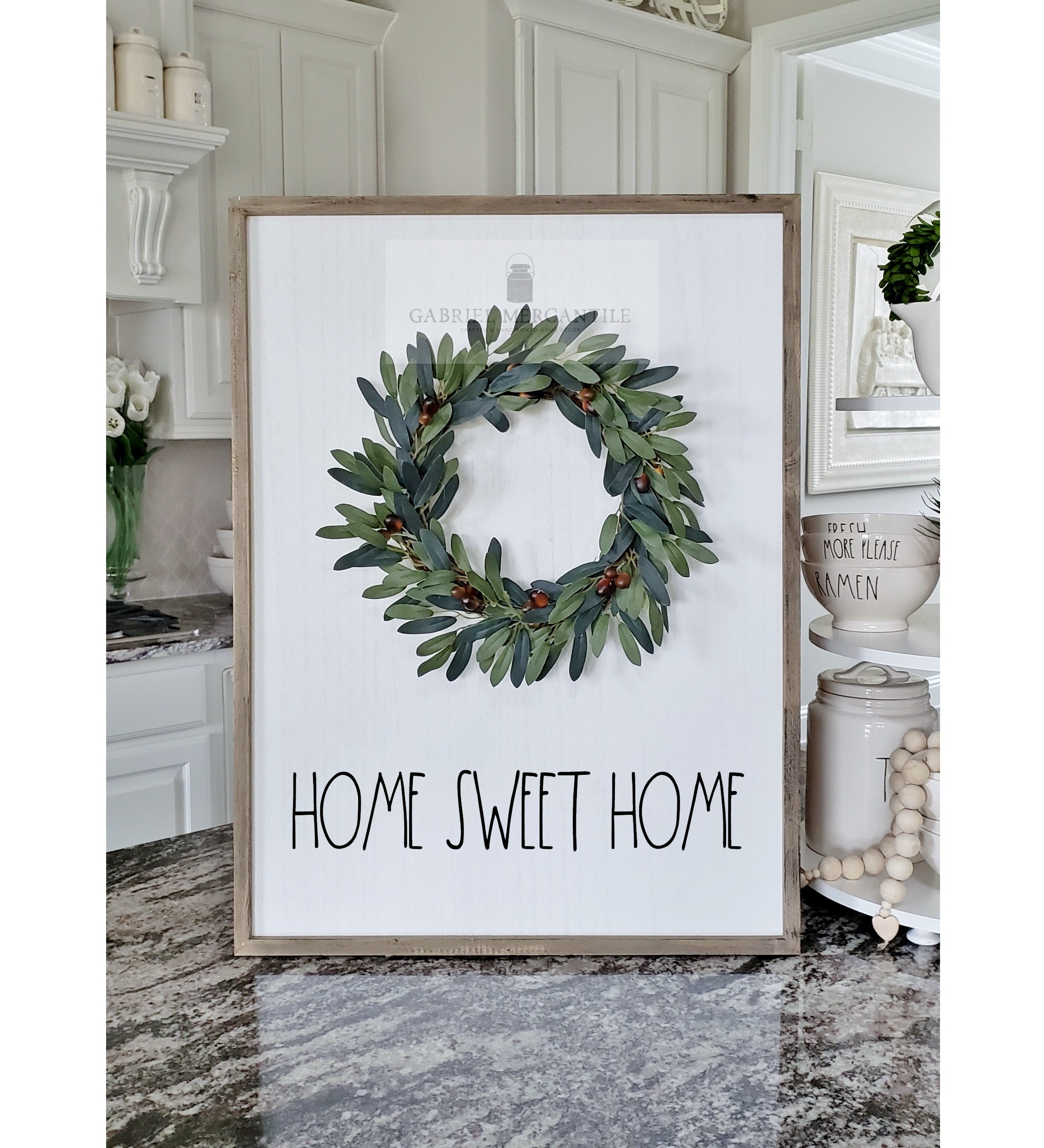 Current Floral Wreath Wood Framed Wall Decor Throughout Large White Wash Wood Wall Decor With Artificial Olive Wreath & Hand (View 5 of 20)