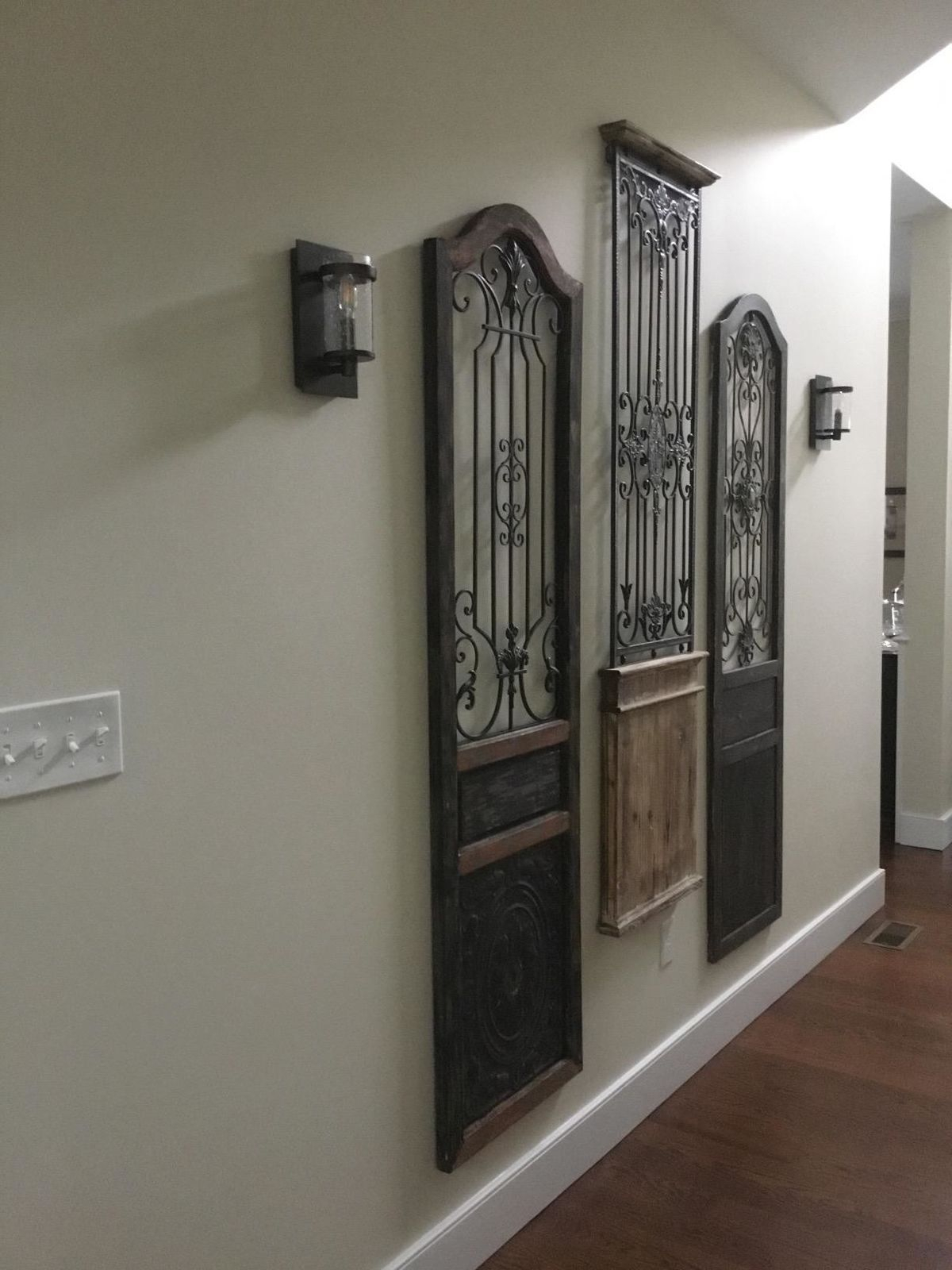 Current Iron Scroll Work Wood Wall Decor Garden Rustic Arched Sculpture Door Intended For Scroll Panel Wall Decor (Gallery 13 of 20)