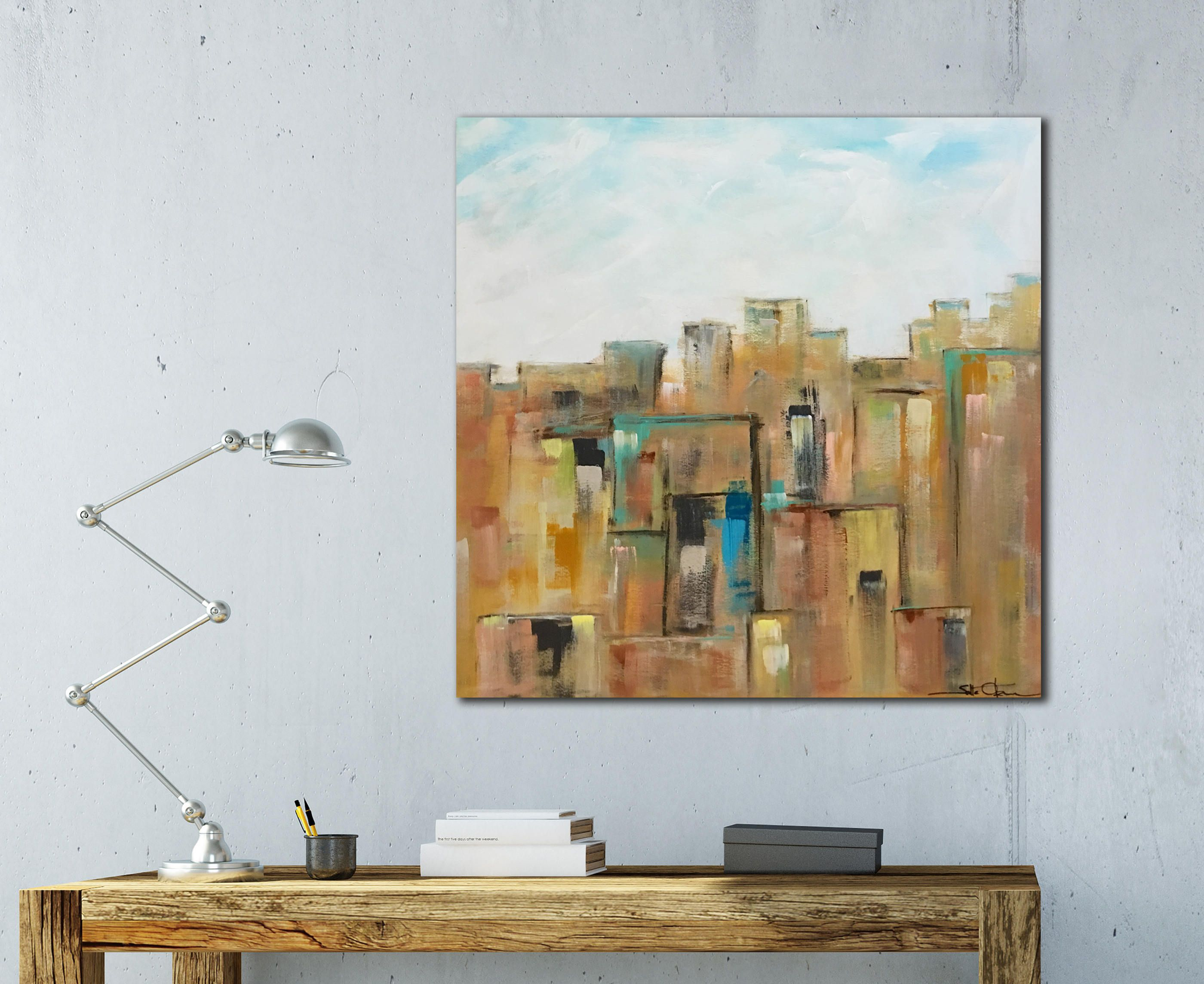 Current Large Abstract Art, Wood Wall Art, City Skyline, New York Regarding Large Modern Industrial Wall Decor (View 4 of 20)