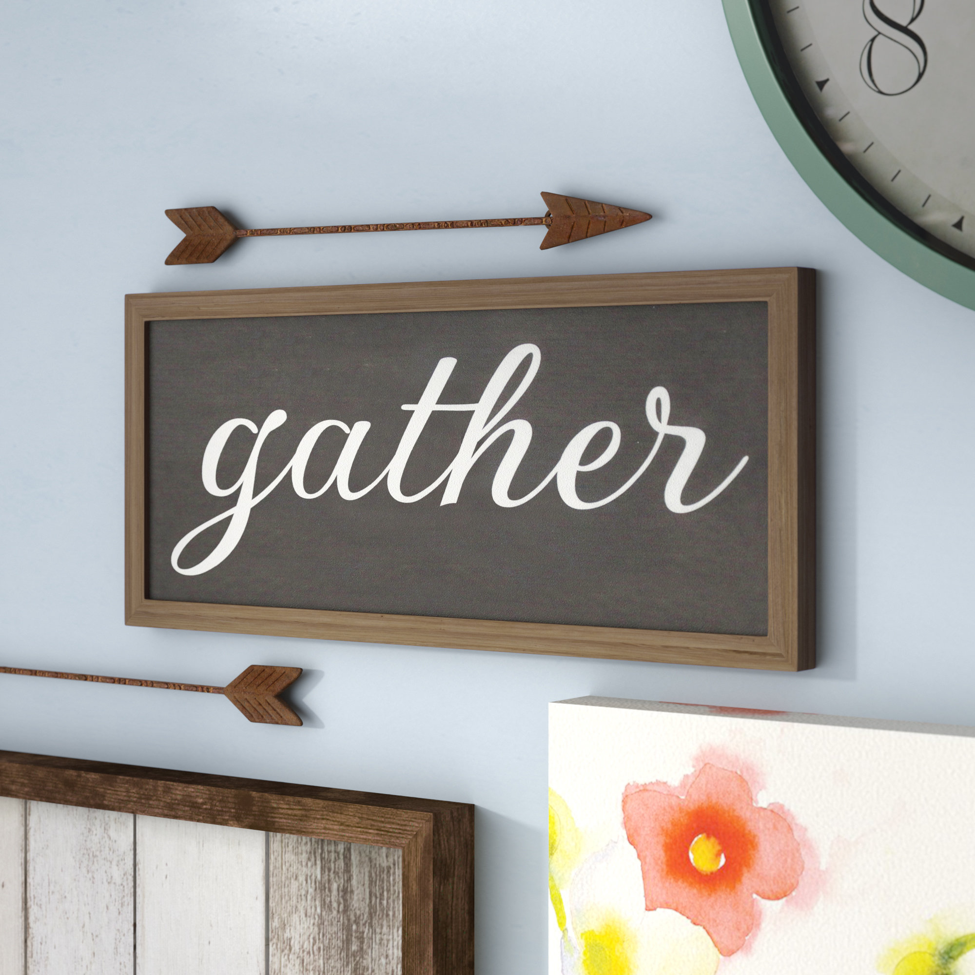 Current Laurel Foundry Modern Farmhouse Gather Galvanized Metal Wall Décor With Regard To Choose Happiness 3D Cursive Metal Wall Decor (Gallery 8 of 20)