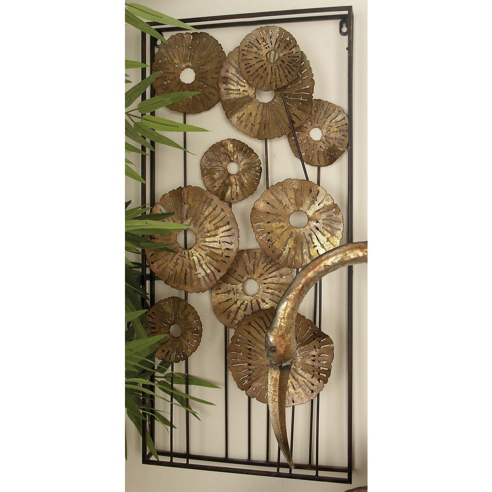Current Litton Lane 14 In. X 30 In. Gold Finished Iron Flower Montage Wall Pertaining To 2 Piece Metal Wall Decor Sets By Fleur De Lis Living (Gallery 18 of 20)