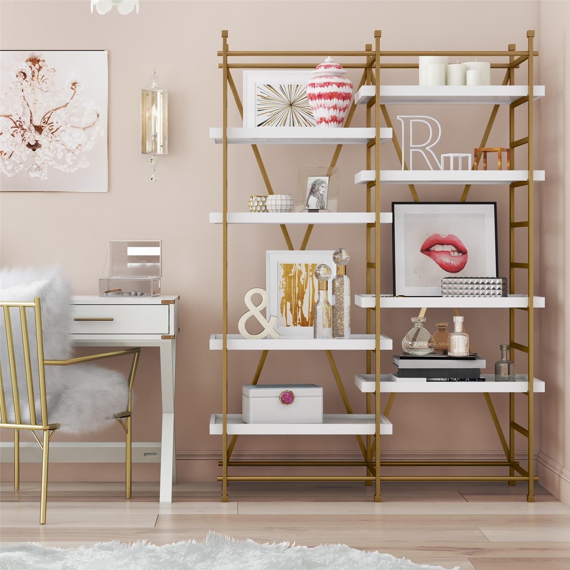 Current Metal Wall Decor By Cosmoliving In Shop Cosmoliving Yves Goldtone Metal/white Wood Bookcase Etagere (View 10 of 20)