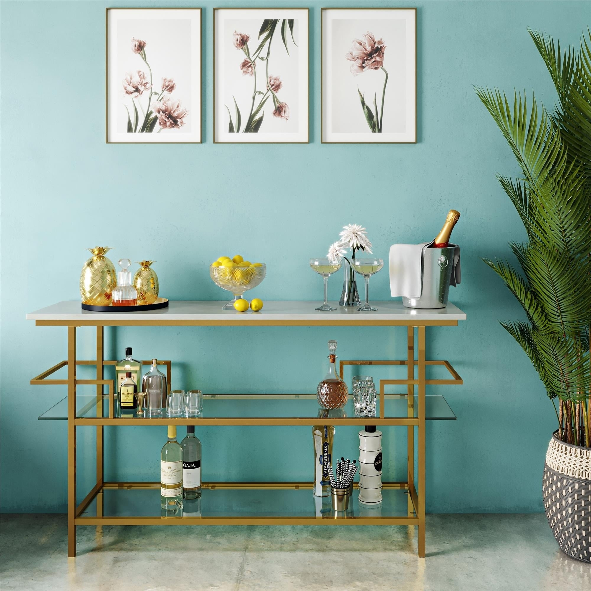 Current Shop Cosmolivingcosmopolitan Barlow Soft Brass Console Unit Inside Metal Wall Decor By Cosmoliving (Gallery 18 of 20)