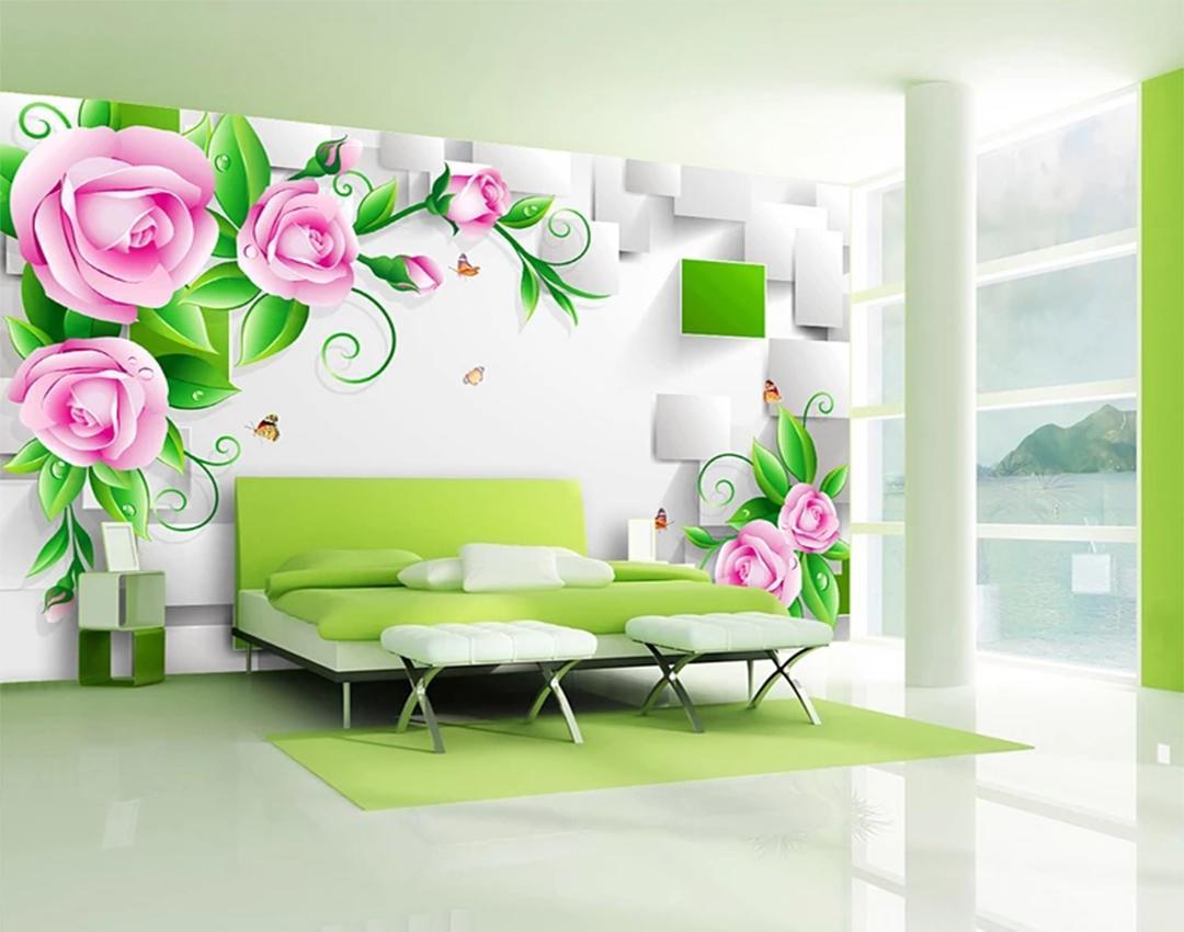 Custom Wallpaper 3D Three Dimensional Delicate Rose Vine Box Living For Trendy Three Flowers On Vine Wall Decor (Gallery 10 of 20)