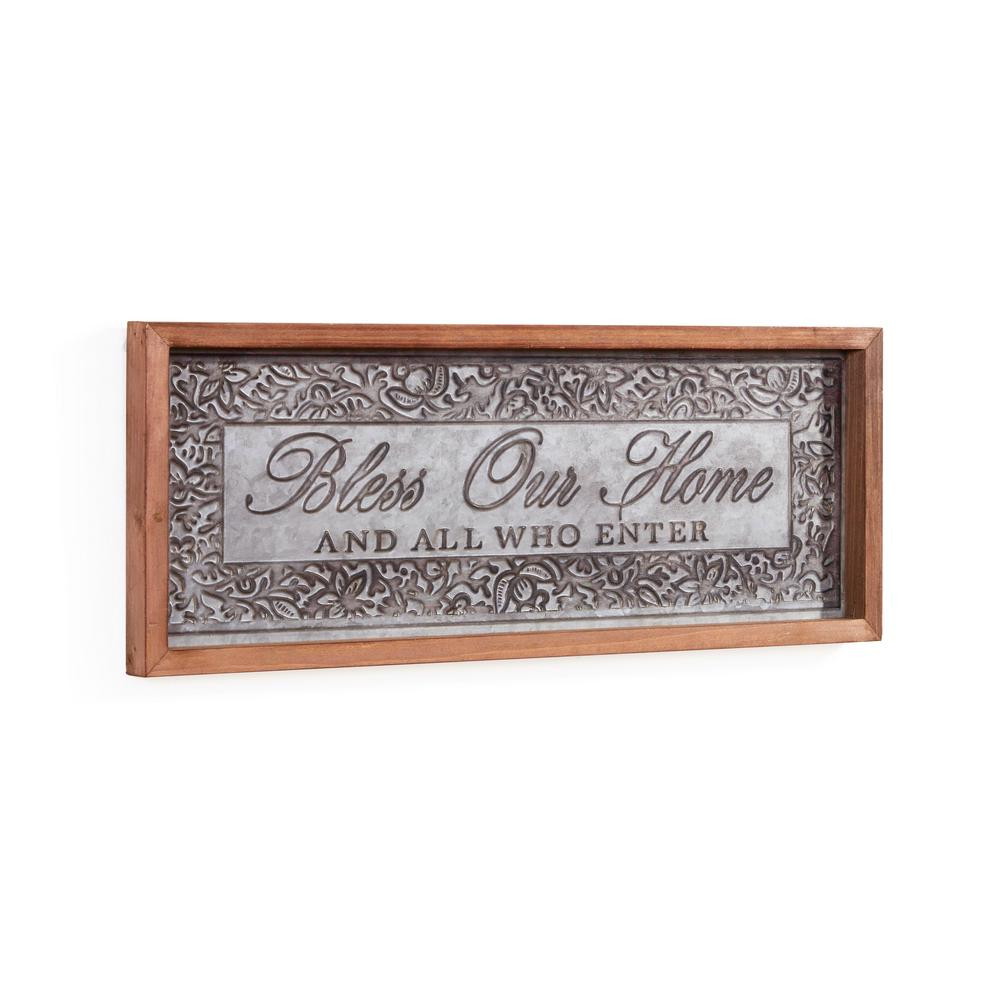 Danya B Inspirational Bless Our Home Framed Metal Art Sign Cu25634 pertaining to Well-known Faith, Hope, Love Raised Sign Wall Decor