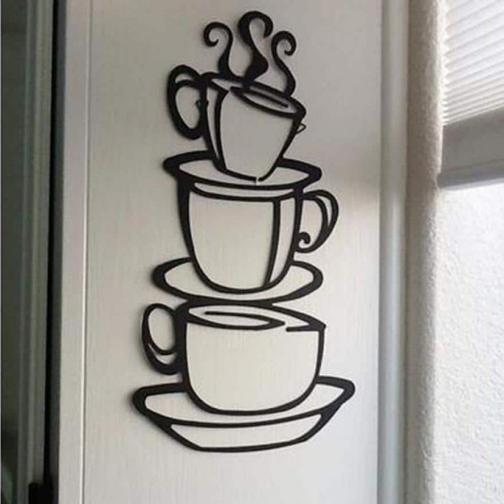 Decorative Three Stacked Coffee Tea Cups Iron Widget Wall Decor In Popular Removable Wall Stickers For Kitchen In  (View 2 of 20)