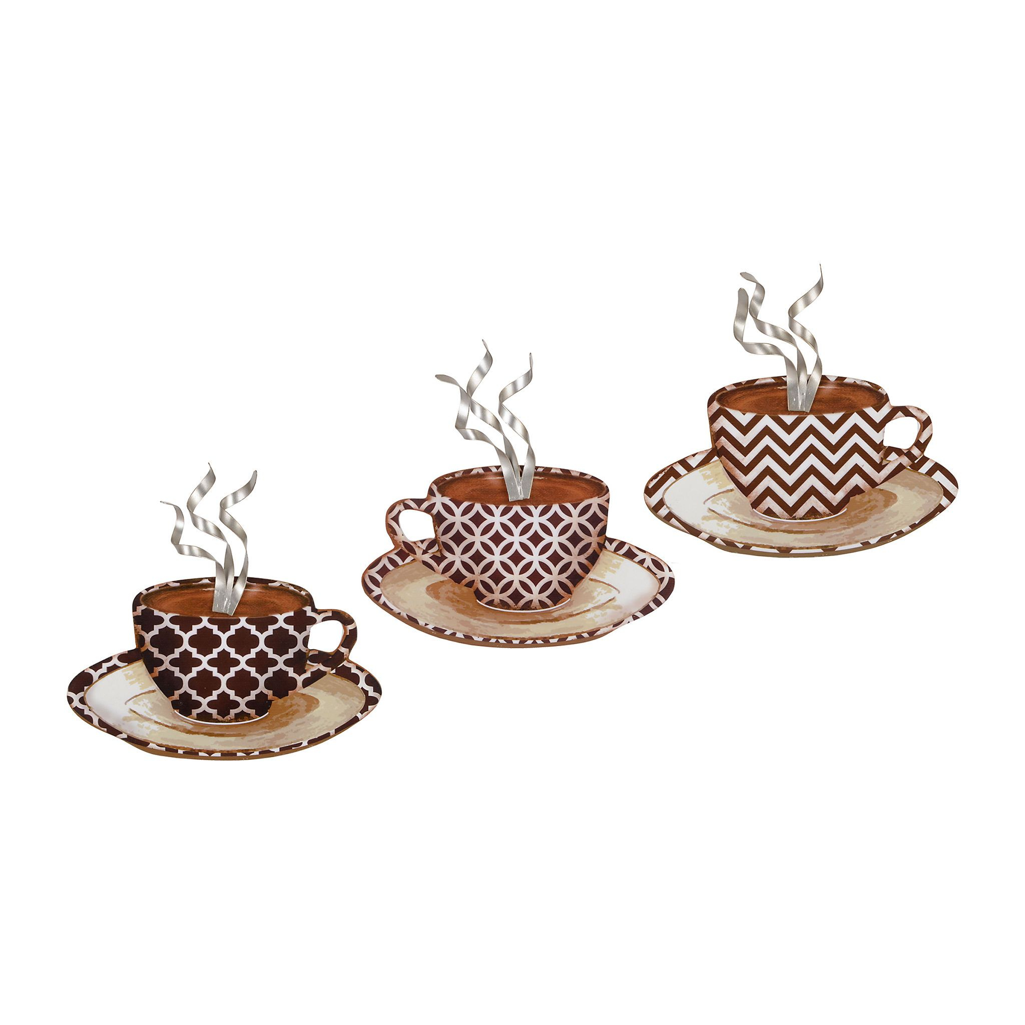 Decorative Three Stacked Coffee Tea Cups Iron Widget Wall Decor within 2020 Product Details Patterned Coffee Mug Metal Plaques, Set Of 3