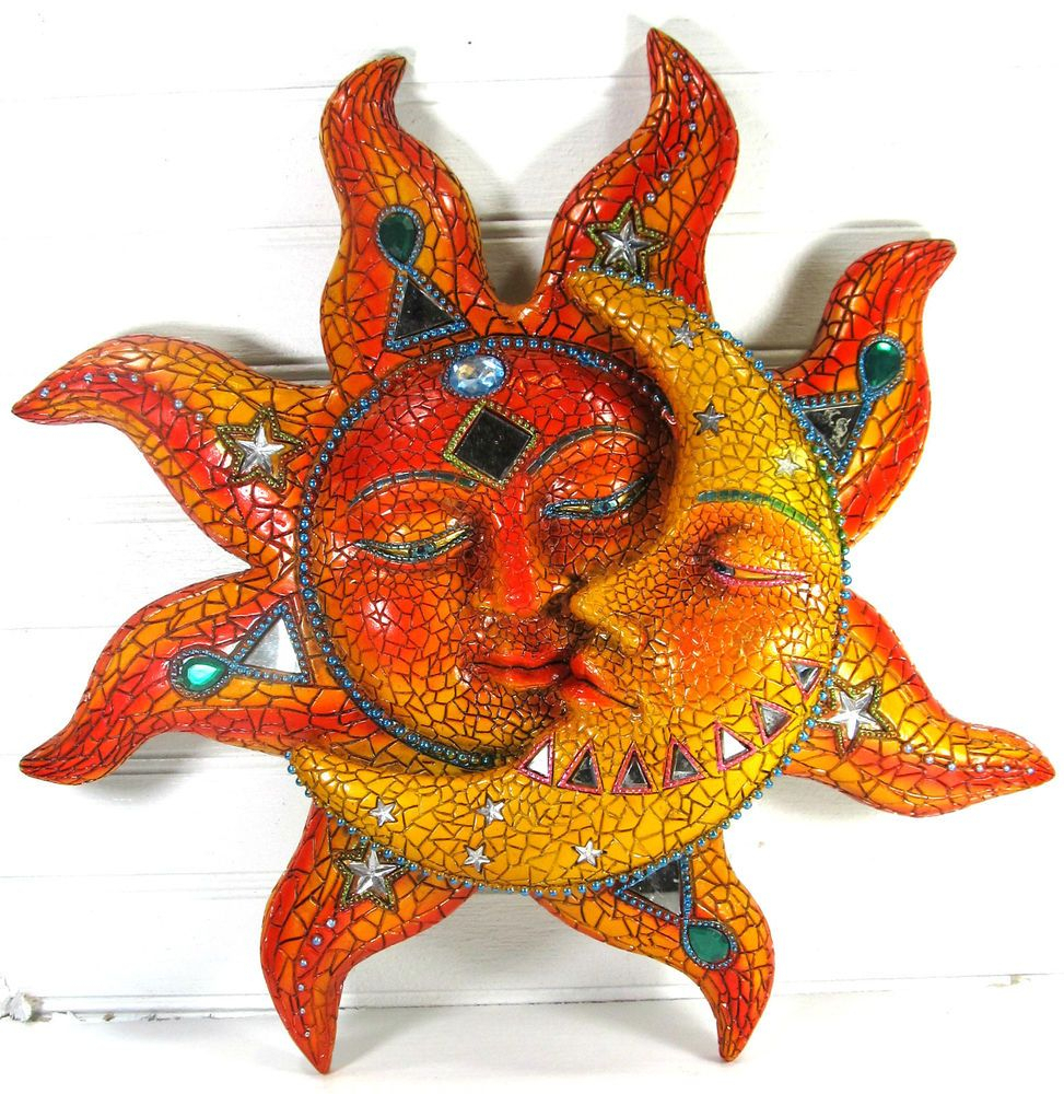 Details About Garden Patio Sun Face Moon Wall Mount Art Home Decor Inside Recent Recycled Moon And Sun Wall Decor (View 4 of 20)