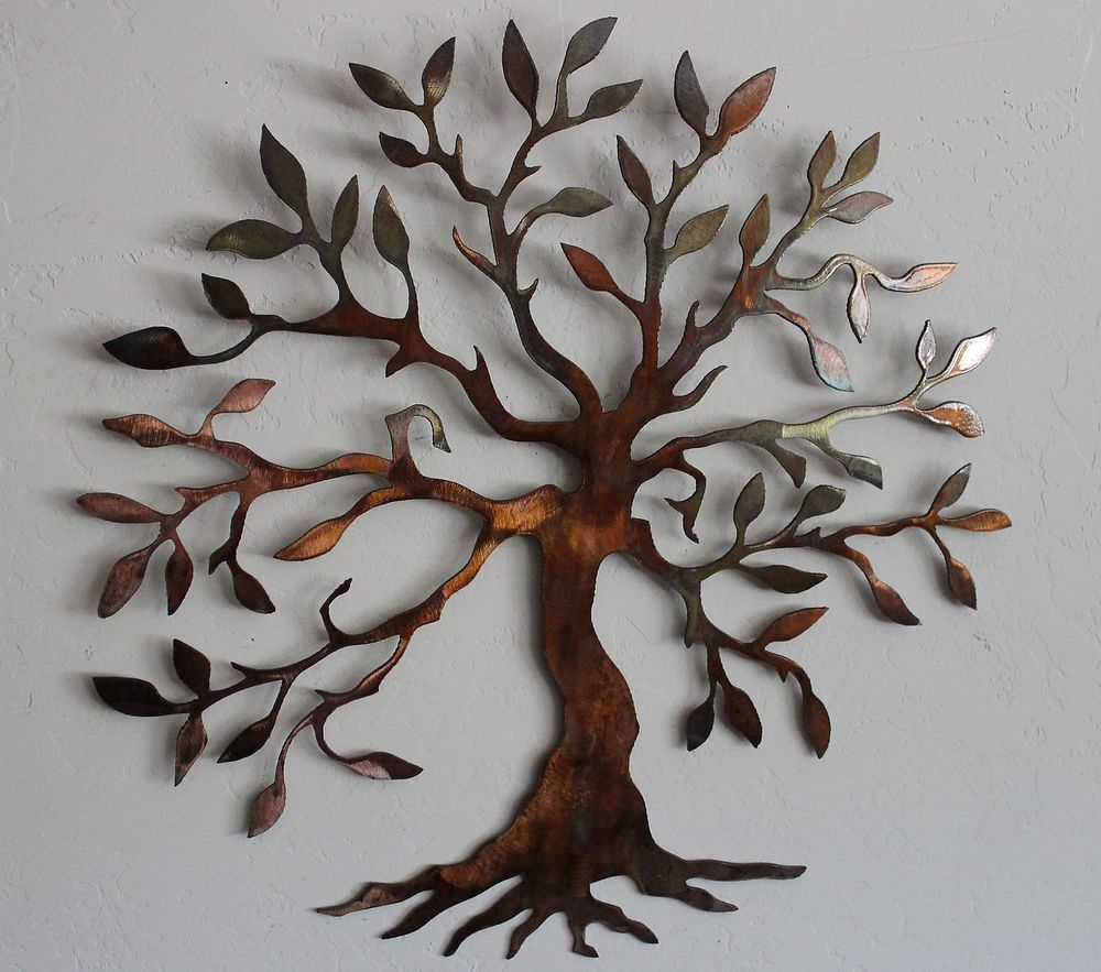 Details About Olive Tree –tree Of Life Metal Wall Art Decor Small Pertaining To Widely Used Olive/gray Metal Wall Decor (Gallery 3 of 20)