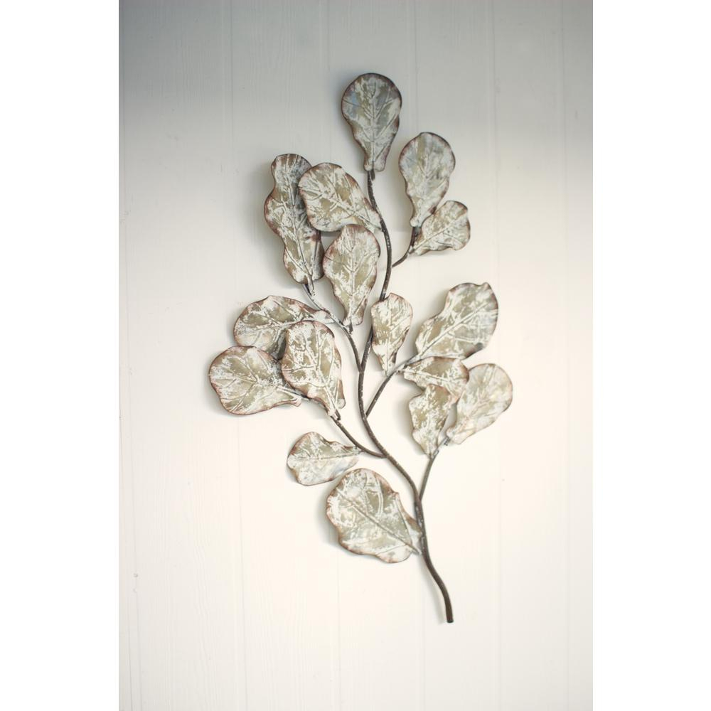Distressed White Metal Leaf Wall Decoration Cvy1029 – The Home Depot Within Most Up To Date Leaves Metal Sculpture Wall Decor (View 4 of 20)