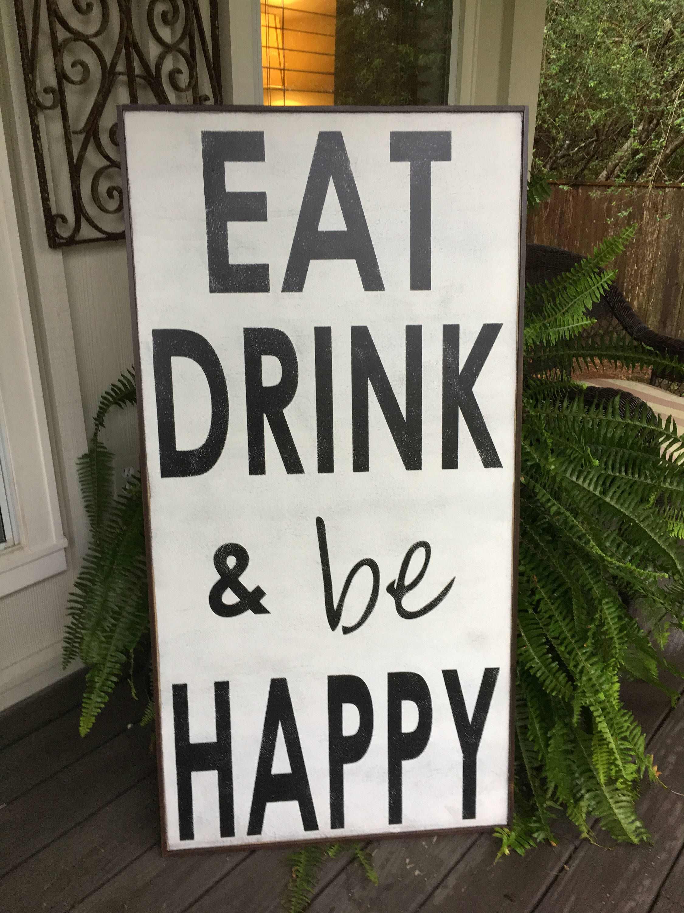 Eat Rustic Farmhouse Wood Wall Decor For Famous Eat Drink And Be Happy,fixer Upper Inspired Signs,48X24, Rustic Wood (View 14 of 20)