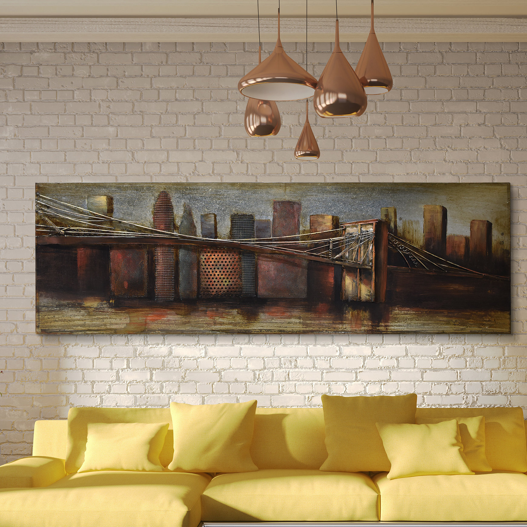 """Empire Art Direct """"bridge To The City 1"""" Mixed Media Iron Hand Pertaining To Best And Newest """"bridge To The City"""" Mixed Media Iron Hand Painted Dimensional Wall Decor (View 8 of 20)"""