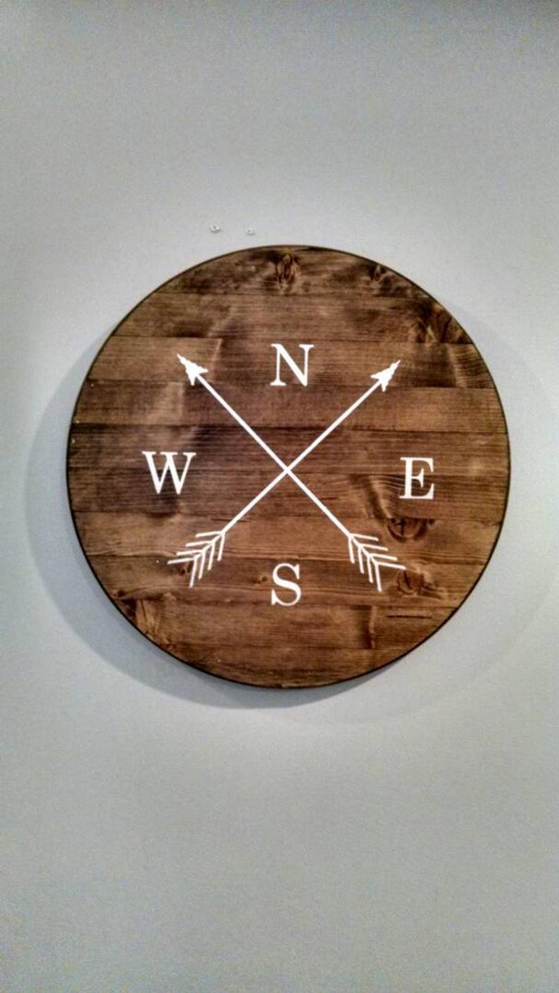 Etsy Regarding Round Compass Wall Decor (View 8 of 20)