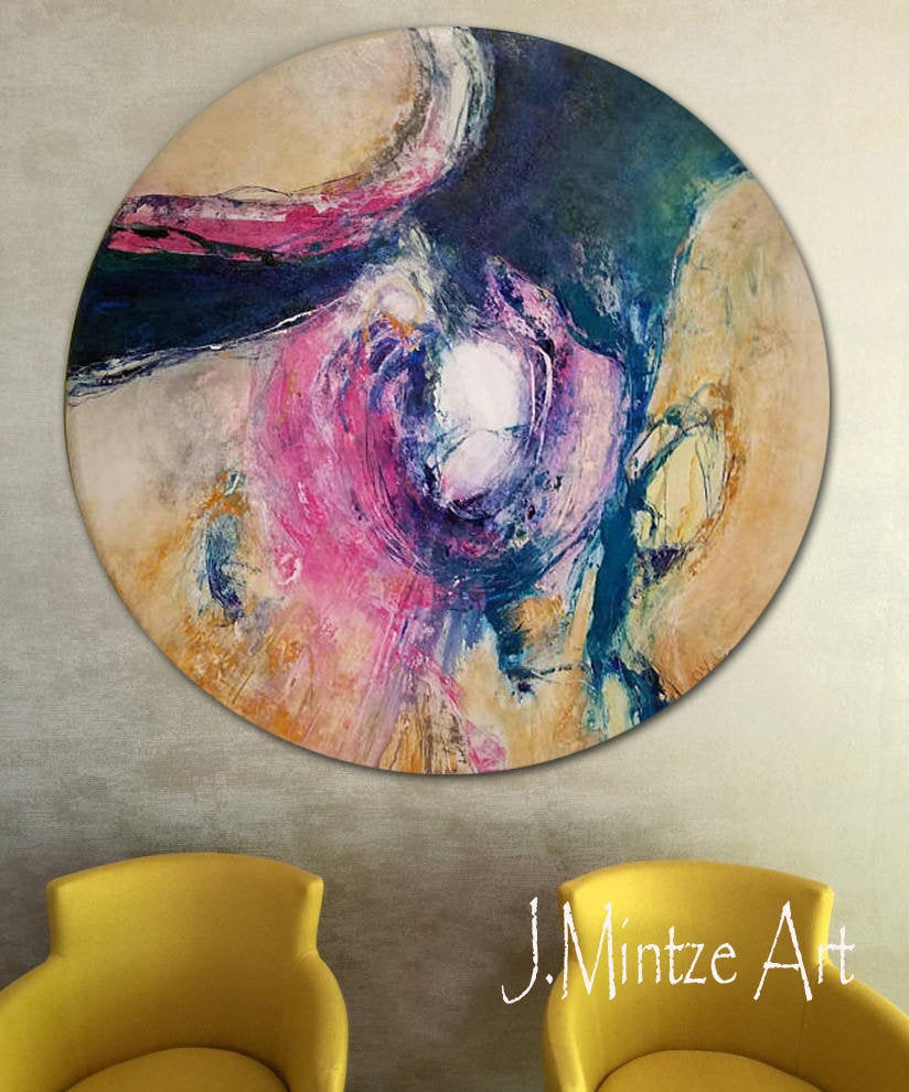 Etsy Throughout Most Up To Date Contemporary Abstract Round Wall Decor (View 9 of 20)