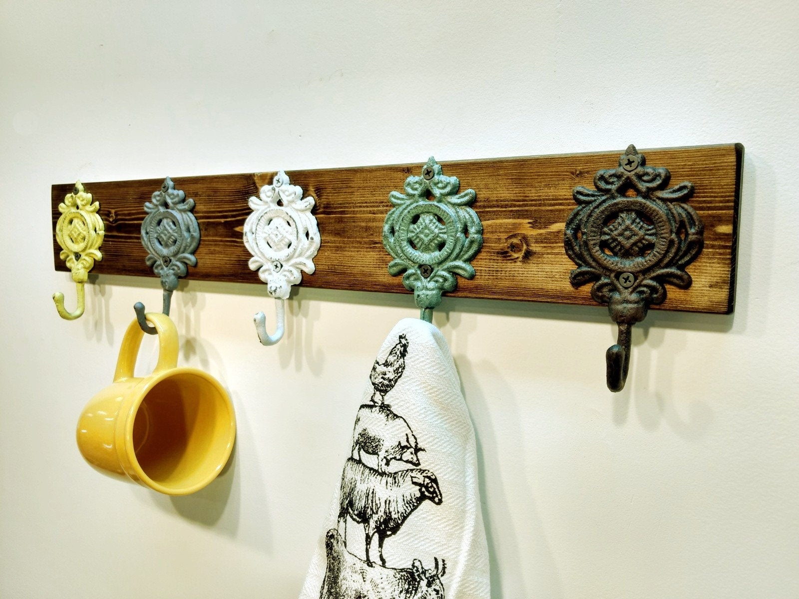 Etsy With Most Recent Farm Metal Wall Rack And 3 Tin Pot With Hanger Wall Decor (Gallery 12 of 20)