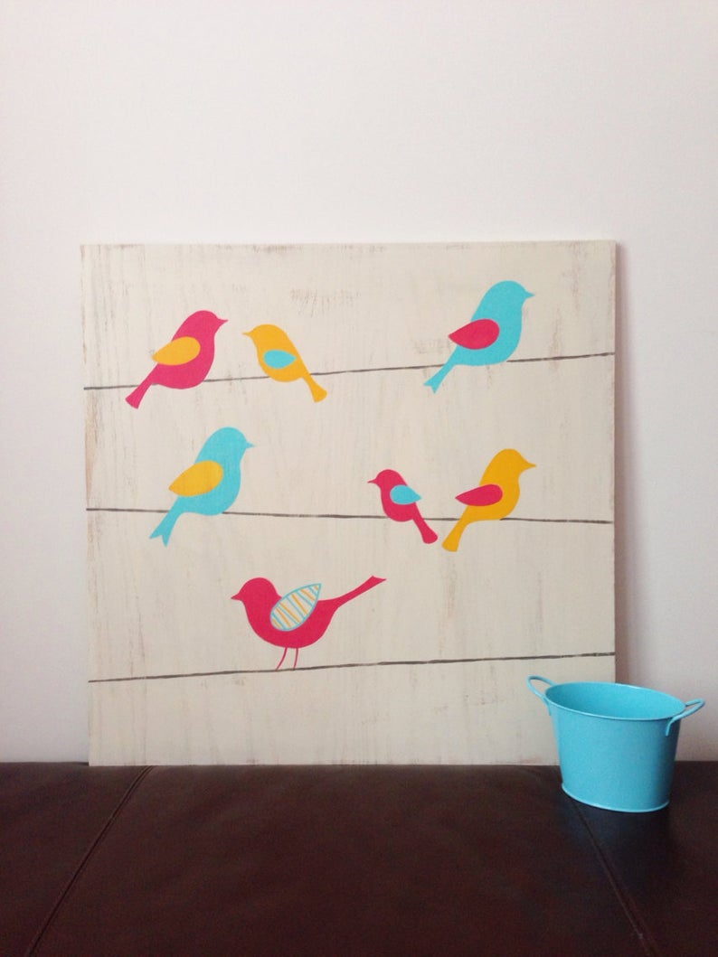 Etsy With Regard To Most Up To Date Birds On A Wire Wall Decor (Gallery 3 of 20)