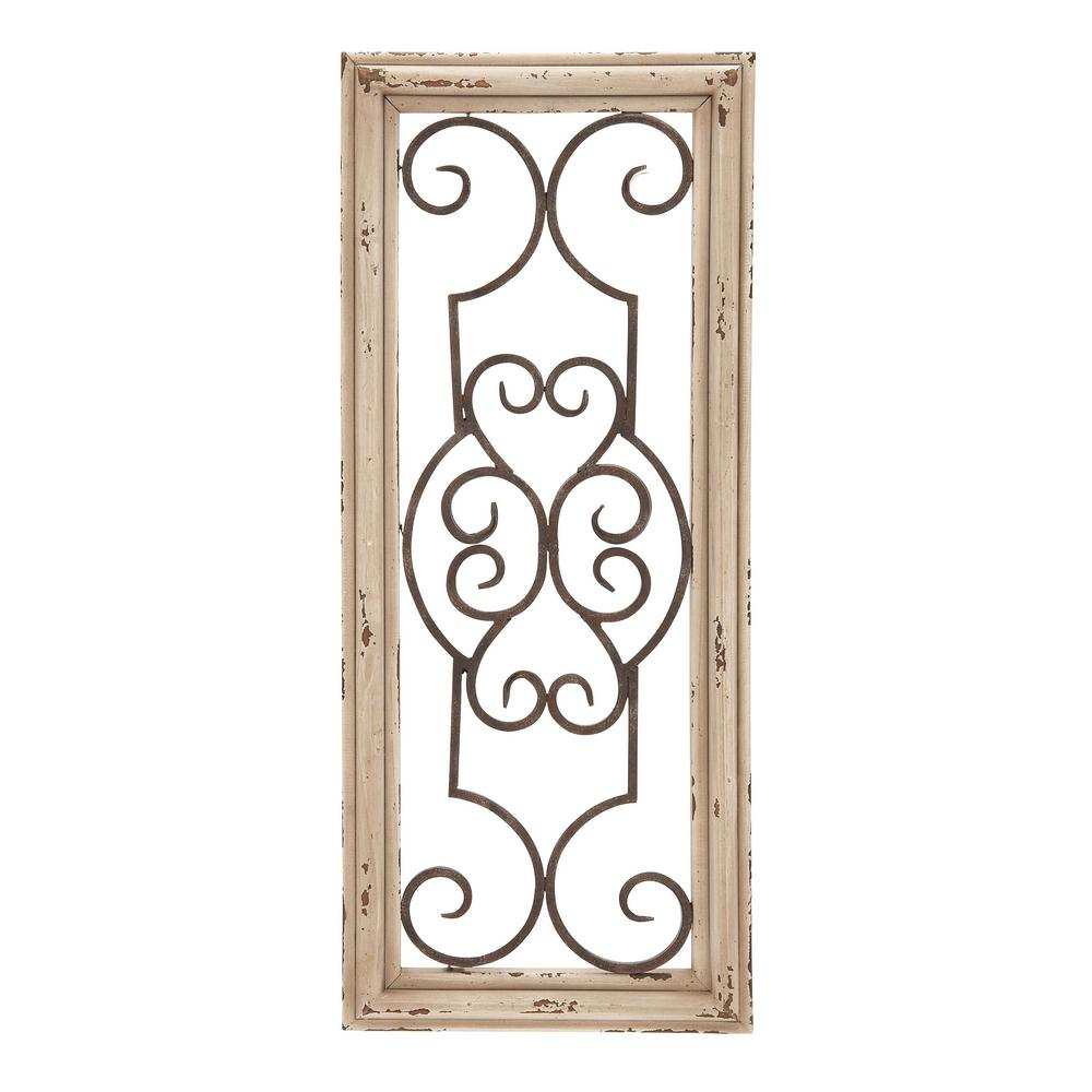 Famous 1 Piece Ortie Panel Wall Decor In Benzara Wood And Metal Panel Wall Decor Bm03765 – The Home Depot (View 3 of 20)
