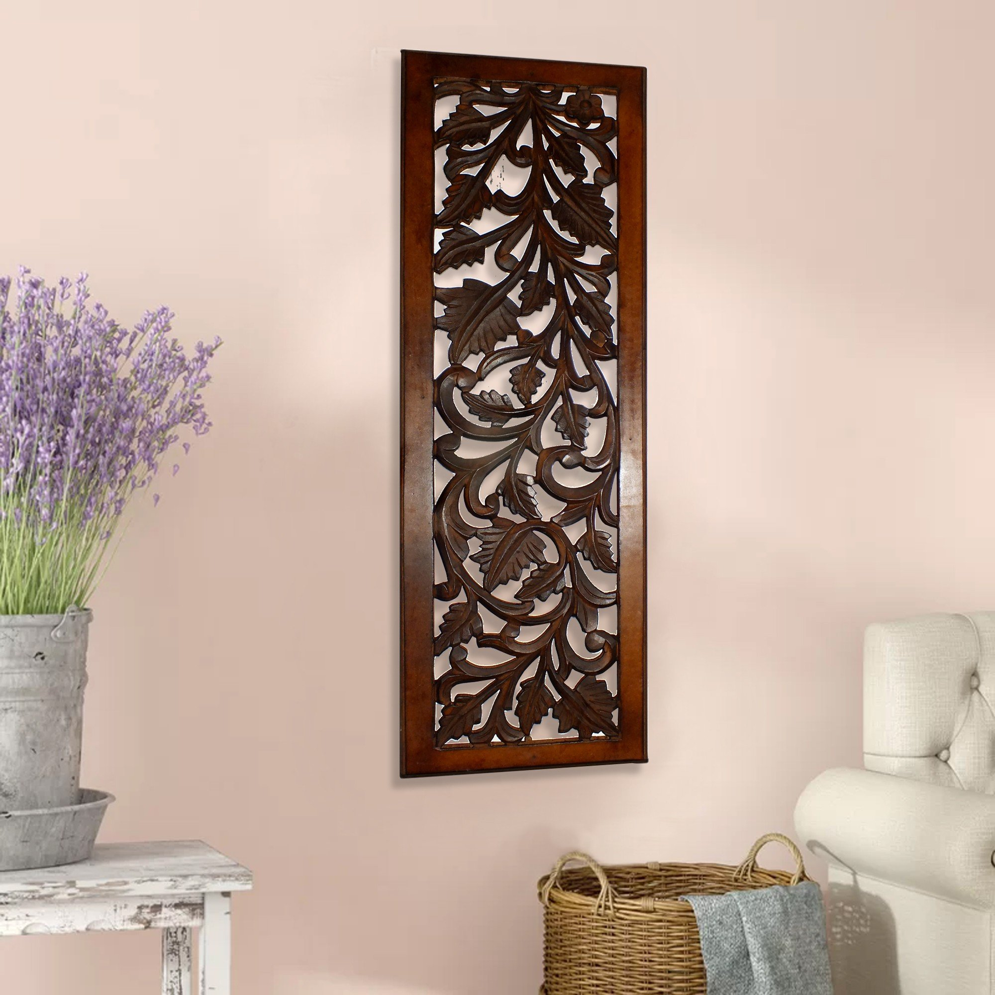 Famous Bungalow Rose Mango Wood Panel With Leaves And Scroll Work Motif Within Scroll Panel Wall Decor (View 16 of 20)
