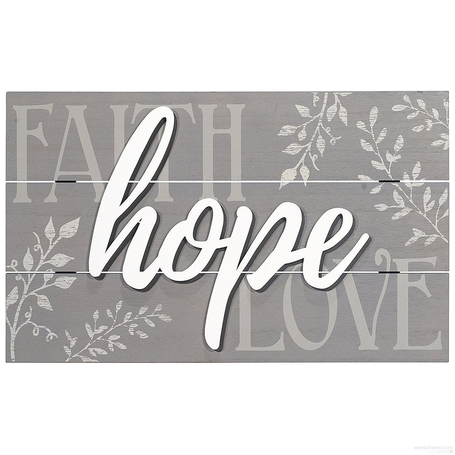 Famous Faith, Hope, Love Raised Sign Wall Decor In Faith – Hope – Love Box Sign 18x11malden – Walmart (View 6 of 20)