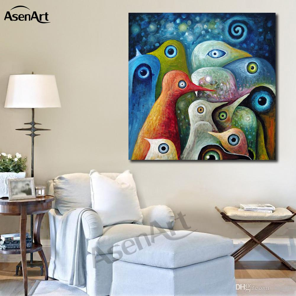 Famous Ful Abstract Birds Modernism Oil Painting Printed On Canvas Mural Pertaining To Abstract Bar And Panel Wall Decor (View 7 of 20)