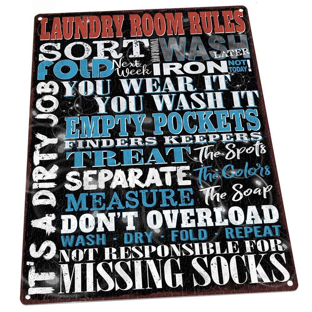 "Famous Metal Laundry Room Wall Decor With Regard To Laundry Room Rules 9""x12"" Metal Sign, Wall Decor For Office Or (View 3 of 20)"