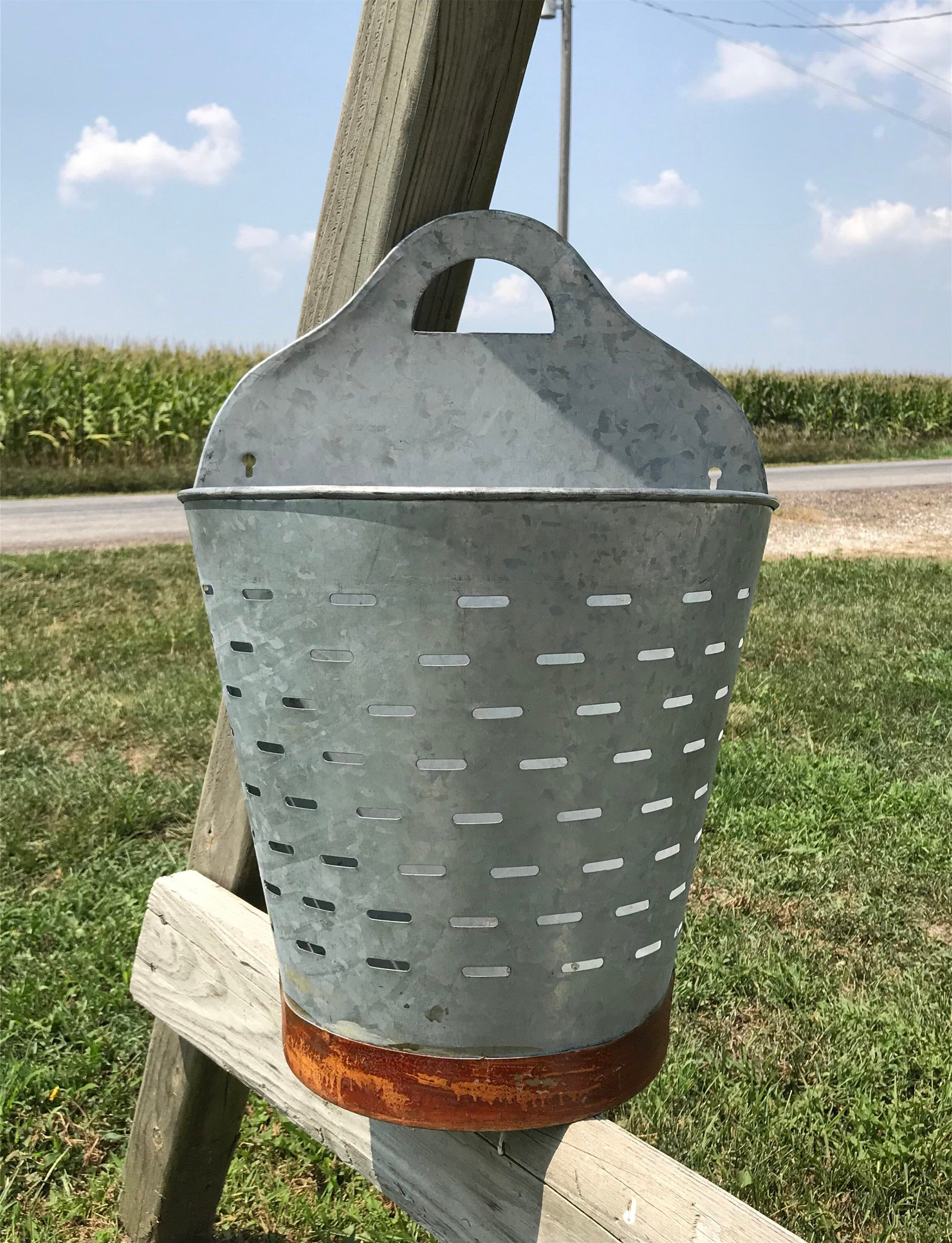 Famous Olive/gray Metal Wall Decor Throughout Pair Olive Buckets Wall Decor, Farmhouse Rustic Planter, Galvanized (View 5 of 20)