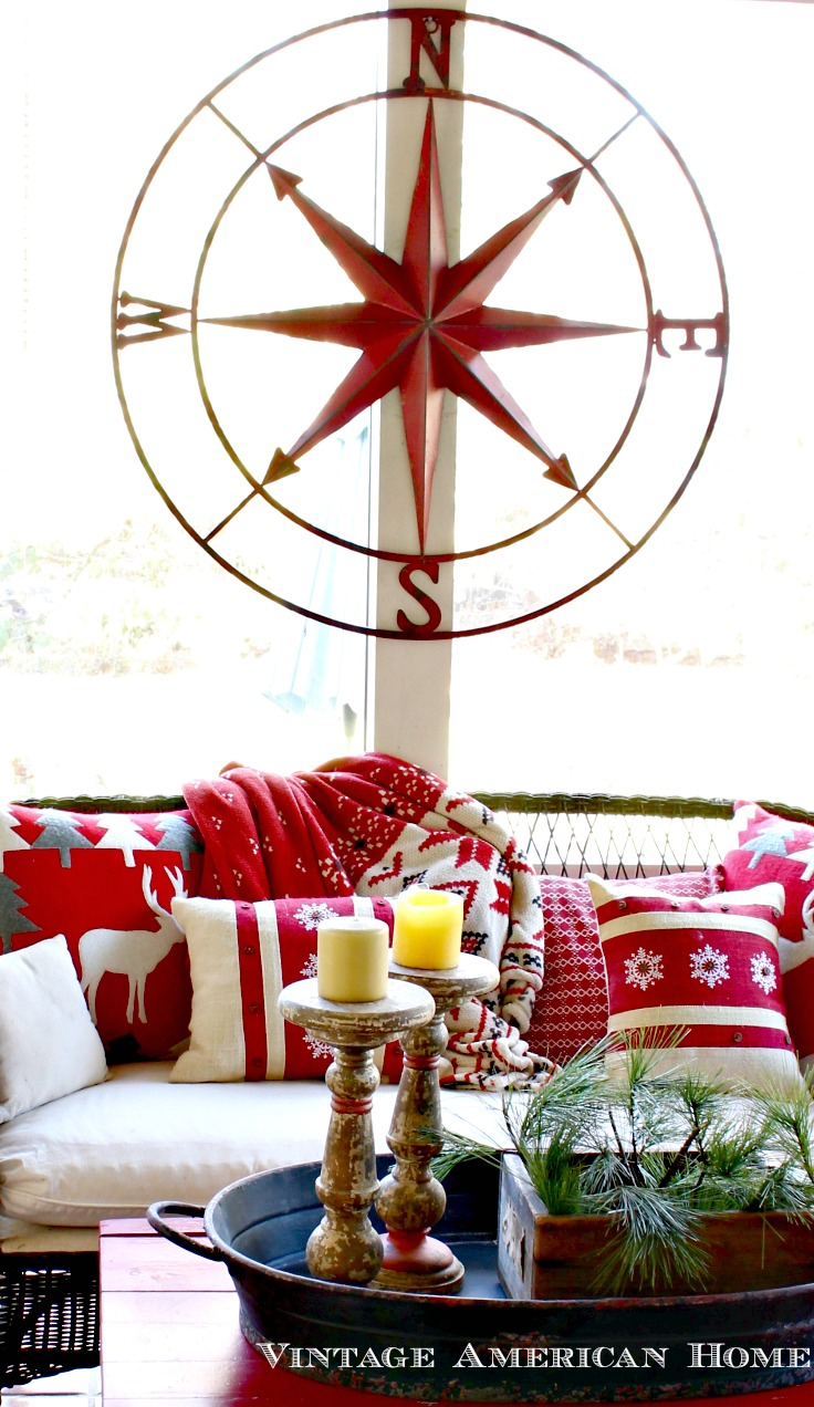 "Famous Very Large Round Metal Compass Rose- 41"" - Vintage American Home with regard to Round Compass Wall Decor"