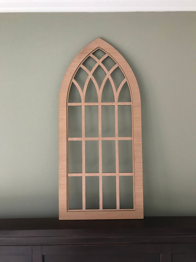 Farmhouse Frame Heirloom Faux Window Arched Stained Custom