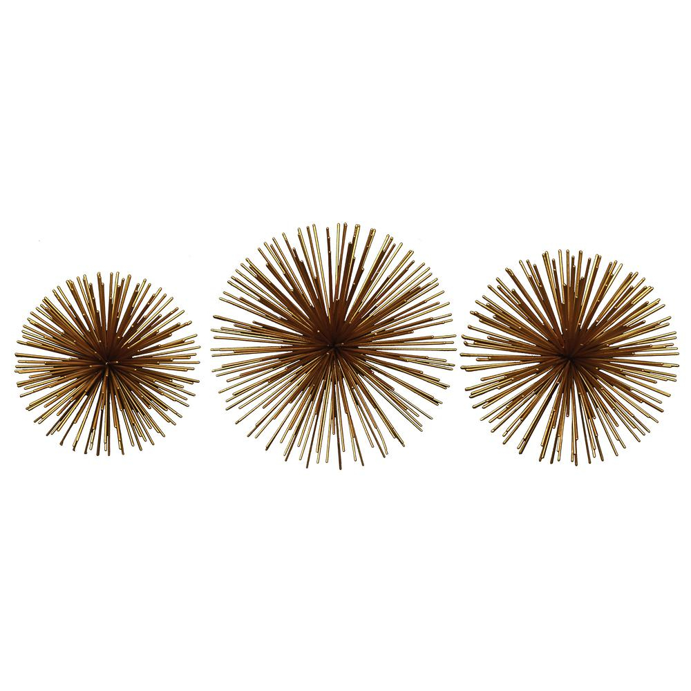 Fashionable 2 Piece Starburst Wall Decor Sets Throughout Fetco Rocchio Gold Starburst Metal Wall Art X2710E – The Home Depot (View 6 of 20)