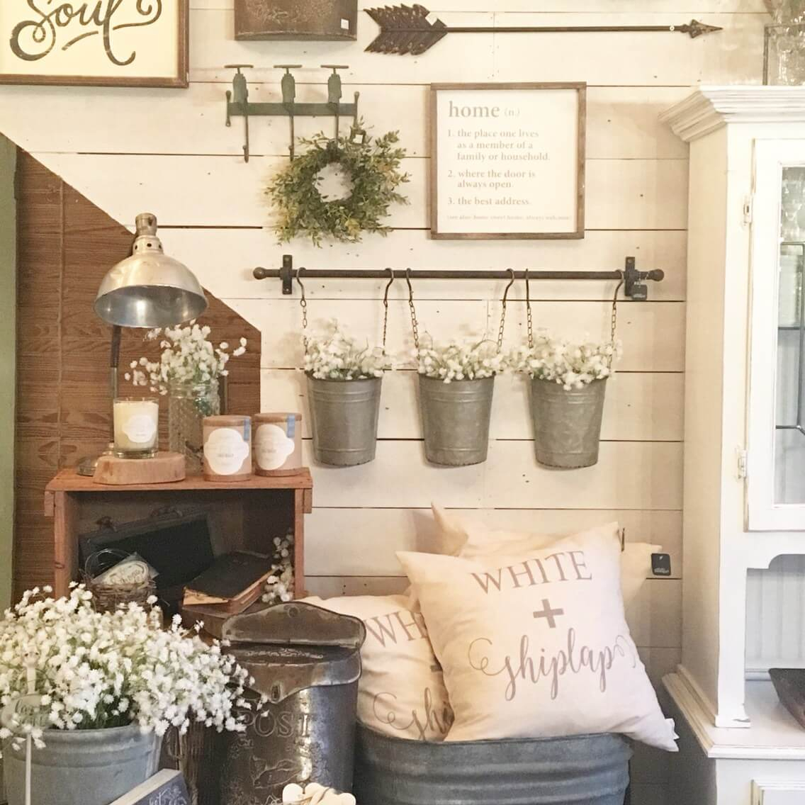 Fashionable 45+ Best Farmhouse Wall Decor Ideas And Designs For 2019 pertaining to Farm Metal Wall Rack And 3 Tin Pot With Hanger Wall Decor