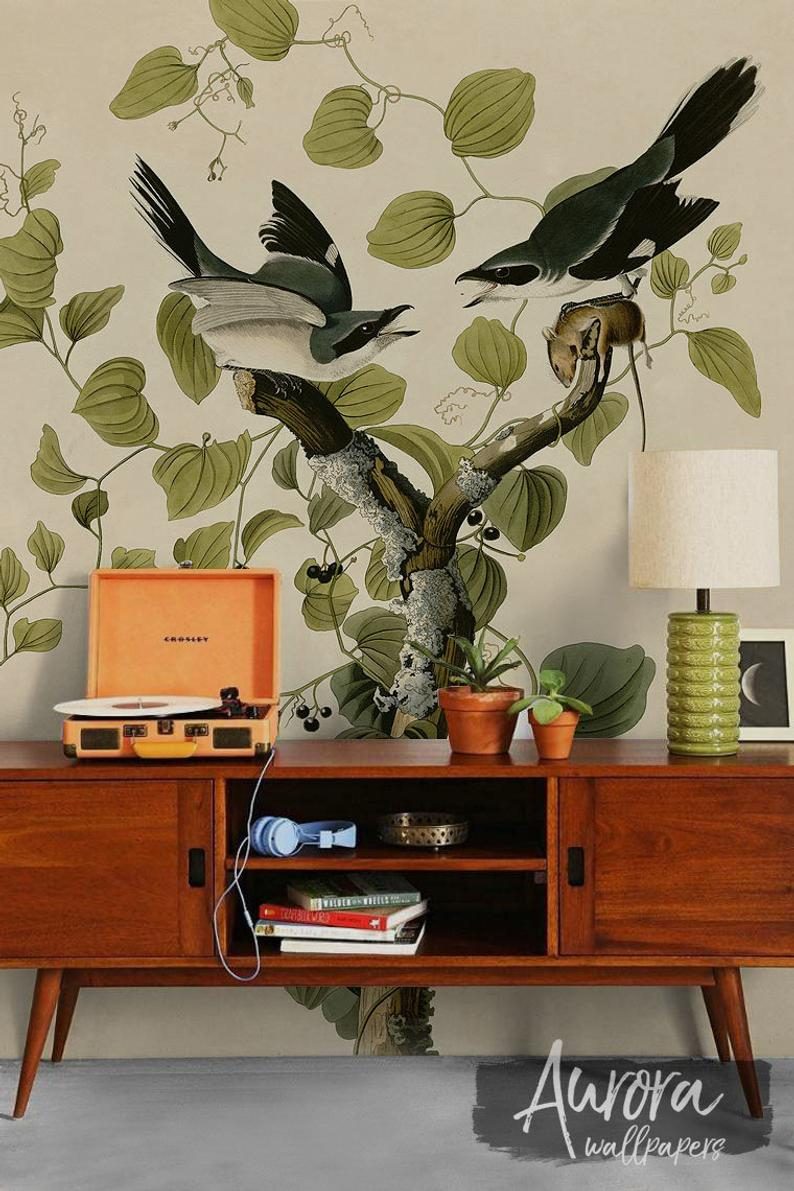 Fashionable Birds On A Branch Wall Decor Inside Birds On A Branch Wall Decor Art Wall Mural Peel And Stick (View 18 of 20)
