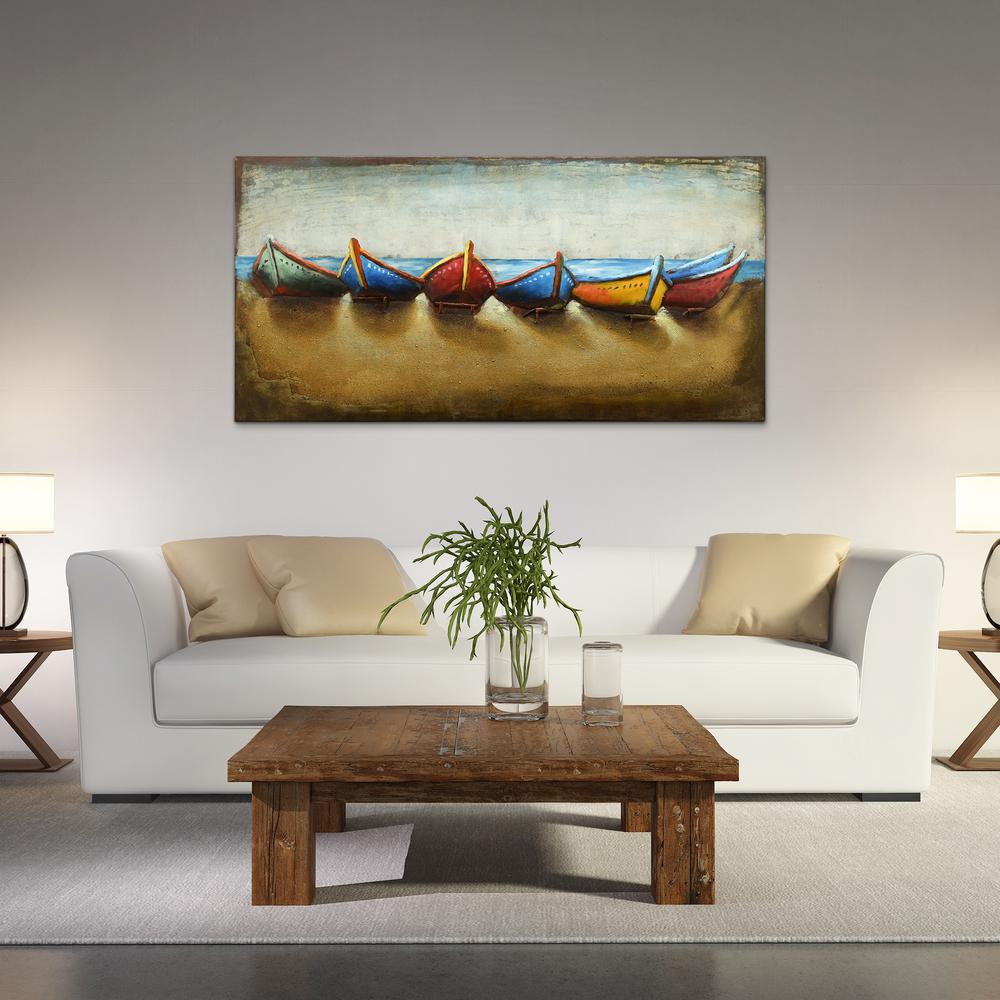 """Fashionable Boats"""" Mixed Media Iron Hand Painted Dimensional Wall Decor Pmo with regard to Mixed Media Iron Hand Painted Dimensional Wall Decor"""