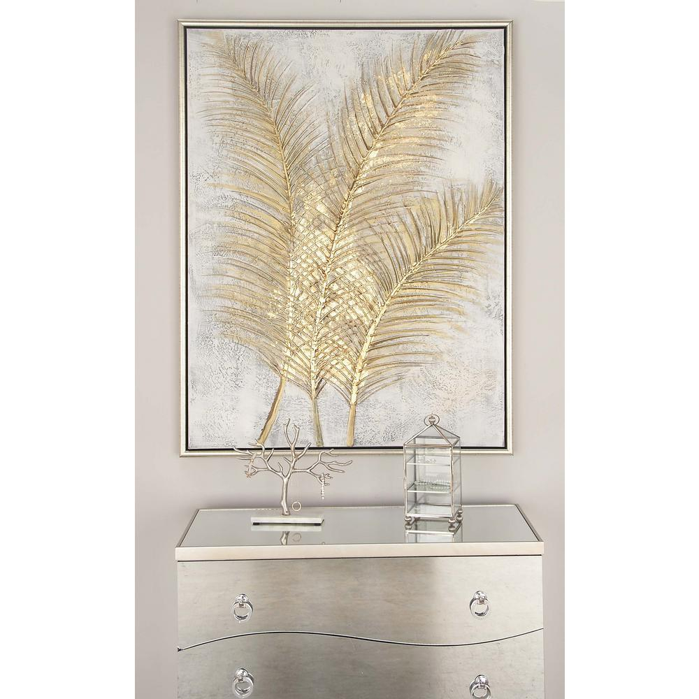 """Fashionable Cosmolivingcosmopolitan 48 In. X 36 In. """"golden Palmtree Leaves with Metal Wall Decor By Cosmoliving"""