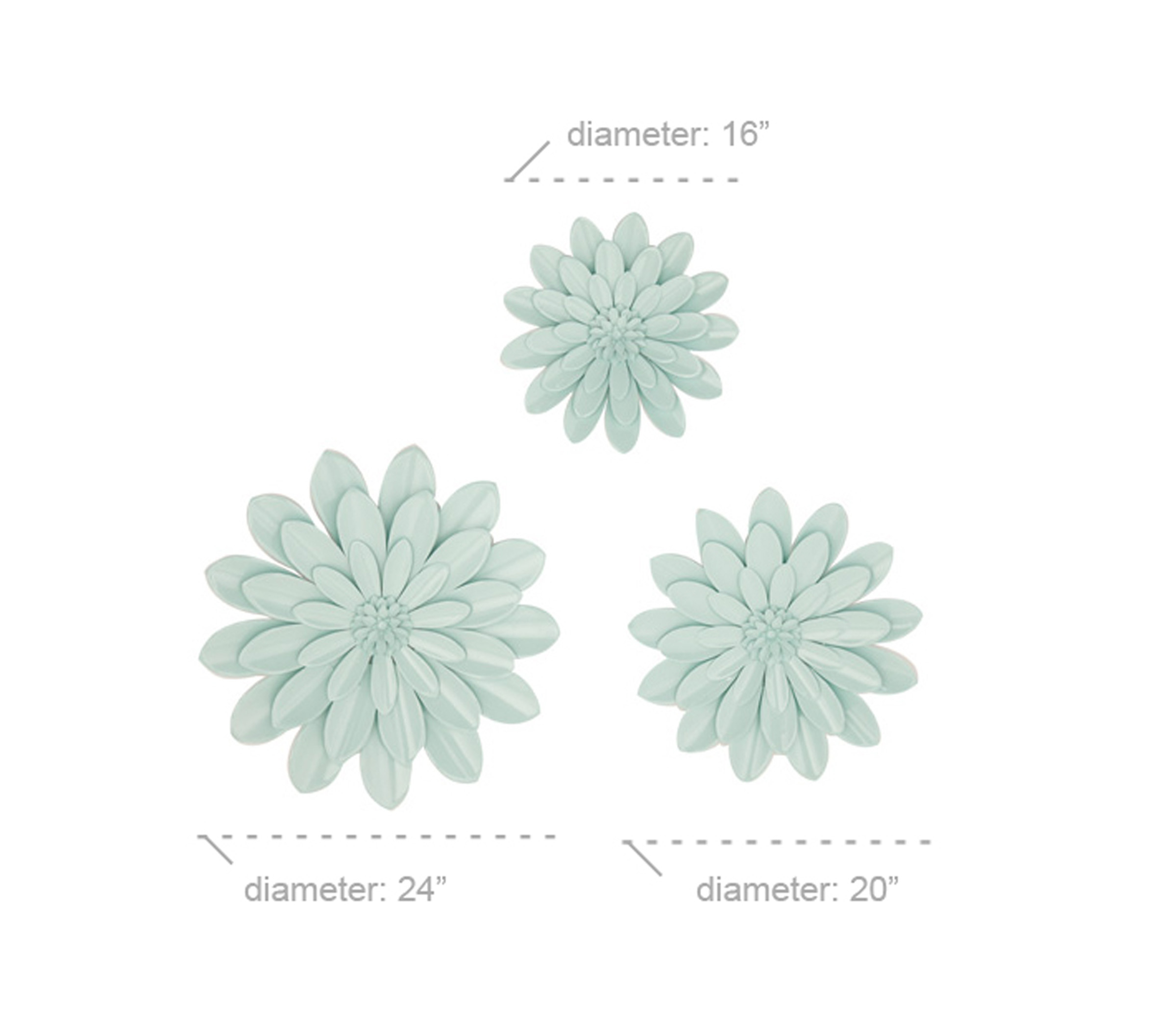 Fashionable Decmode Eclectic 16, 20 And 24 Inch Light Blue Iron Flower Wall Within 2 Piece Multiple Layer Metal Flower Wall Decor Sets (View 2 of 20)