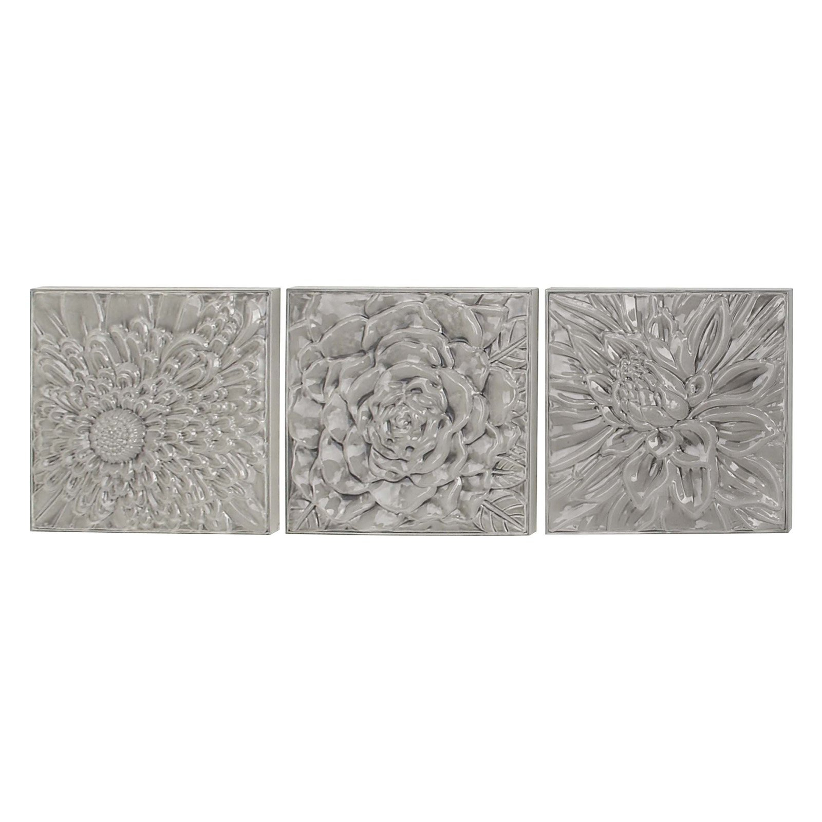 Fashionable Decmode Set Of 3 Modern Glazed Floral Iron Wall Decor, Gray With Metal Flower Wall Decor (Set Of 3) (View 2 of 20)