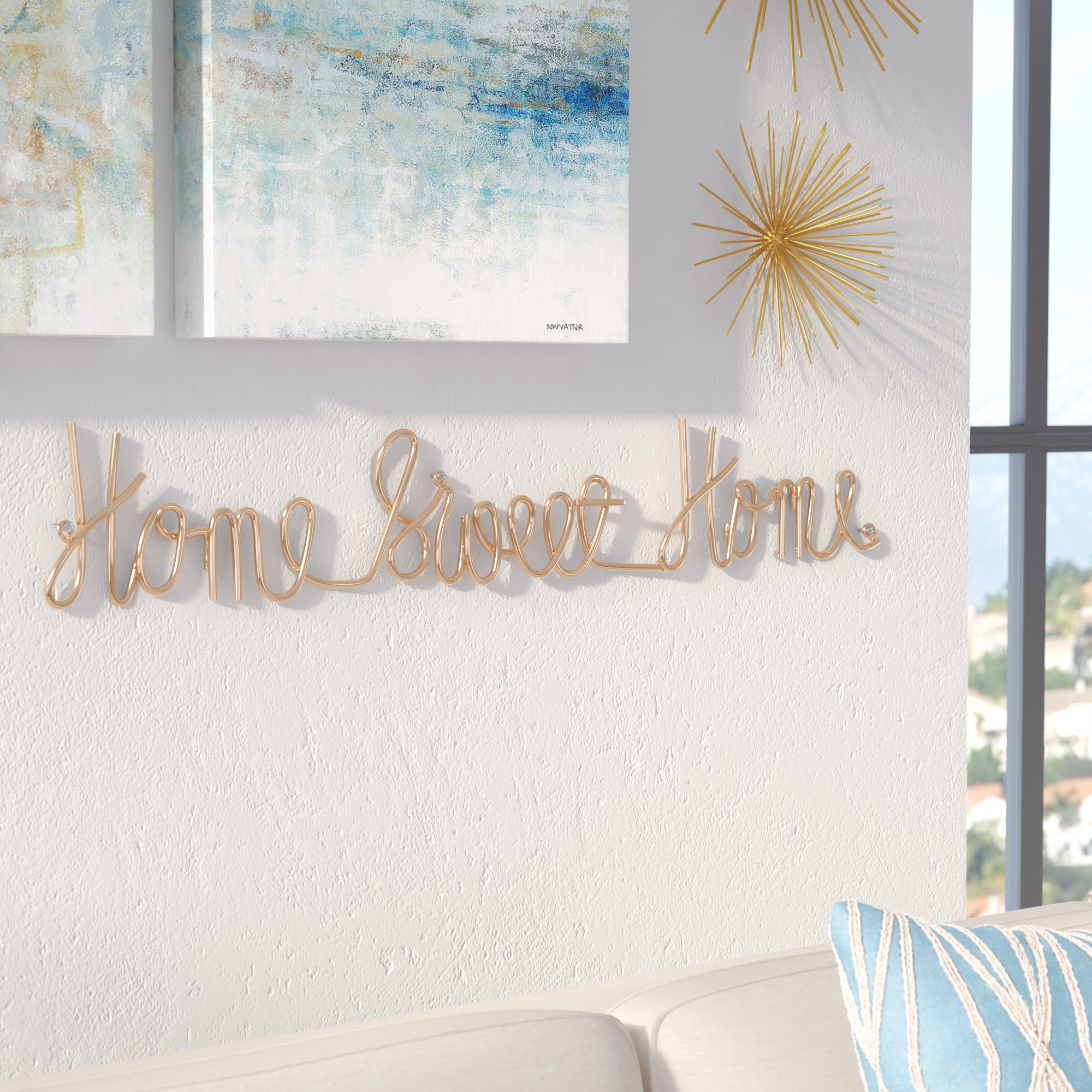 Fashionable Laser Engraved Home Sweet Home Wall Decor With Regard To Latitude Run Home Sweet Home 3D Cursive Wall Décor & Reviews (View 9 of 20)
