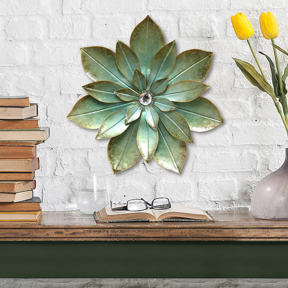 Fashionable Stratton Home Decor Green Embellished Metal Flower Wall Decor S07659 in Flower Wall Decor