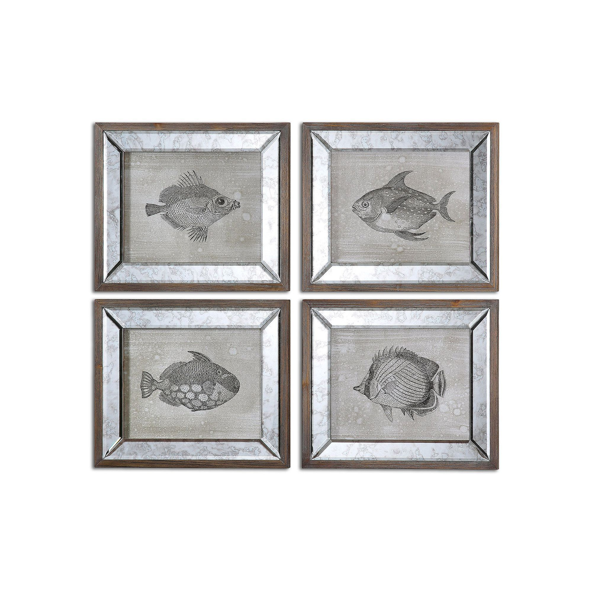 Favorite 4 Piece Metal Wall Decor Sets For Uttermost Mirrored Fish Wall Art 4 Piece Set In (View 5 of 20)