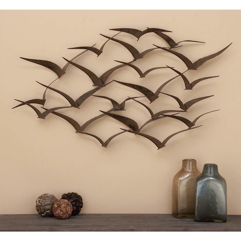 Favorite Brown Wood And Metal Wall Decor Pertaining To Brown Iron Flying Birds Wall Decor Modern Metal Wall Art Sculpture (View 15 of 20)
