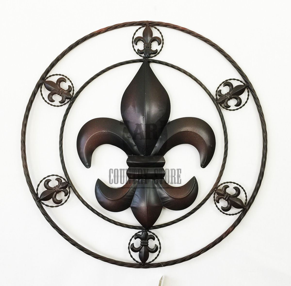 Favorite Fleur De Lis Metal Rope Circle Western Rustic Country Art Wall For Metal Rope Wall Sign Wall Decor (View 5 of 20)