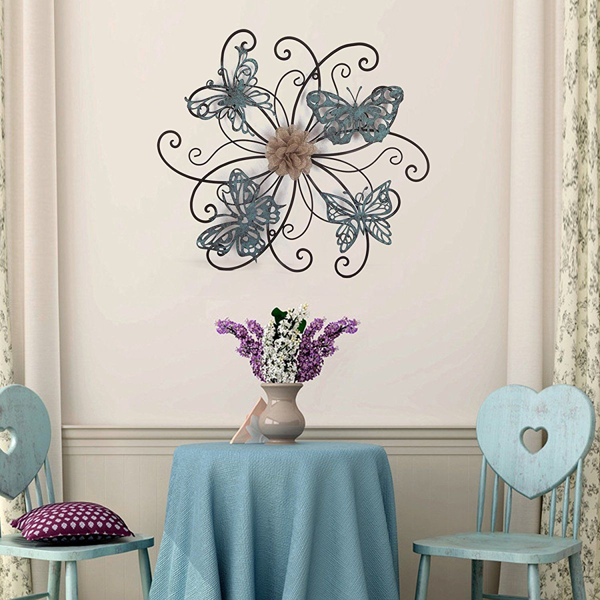 Favorite Homes Art Flower And Butterfly Urban Design Metal Wall Decor For inside Raheem Flowers Metal Wall Decor