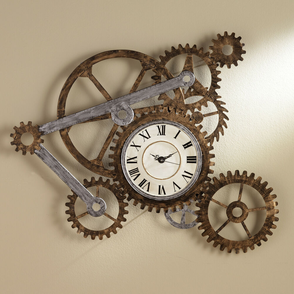 Favorite Large Modern Industrial Wall Decor Throughout Modern Farmhouse Wall Clock Decor Metal Gear Large Industrial For (View 6 of 20)