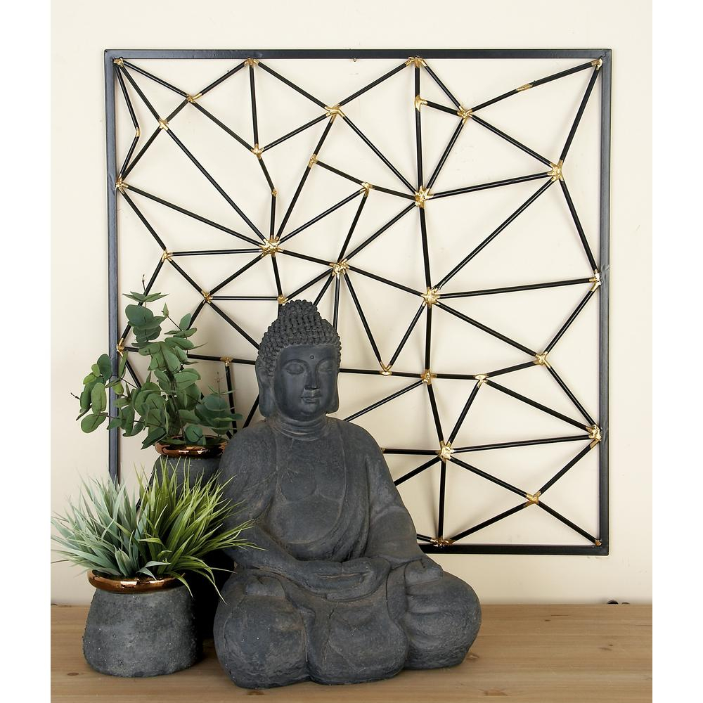 Favorite Metal Wall Decor By Cosmoliving for Cosmolivingcosmopolitan Black And Gold Geometric-Inspired Iron