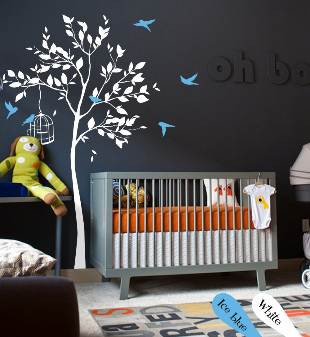 Favorite White Tree Wall Decal With Leaves And Birdswallconsilia regarding Tree Wall Decor